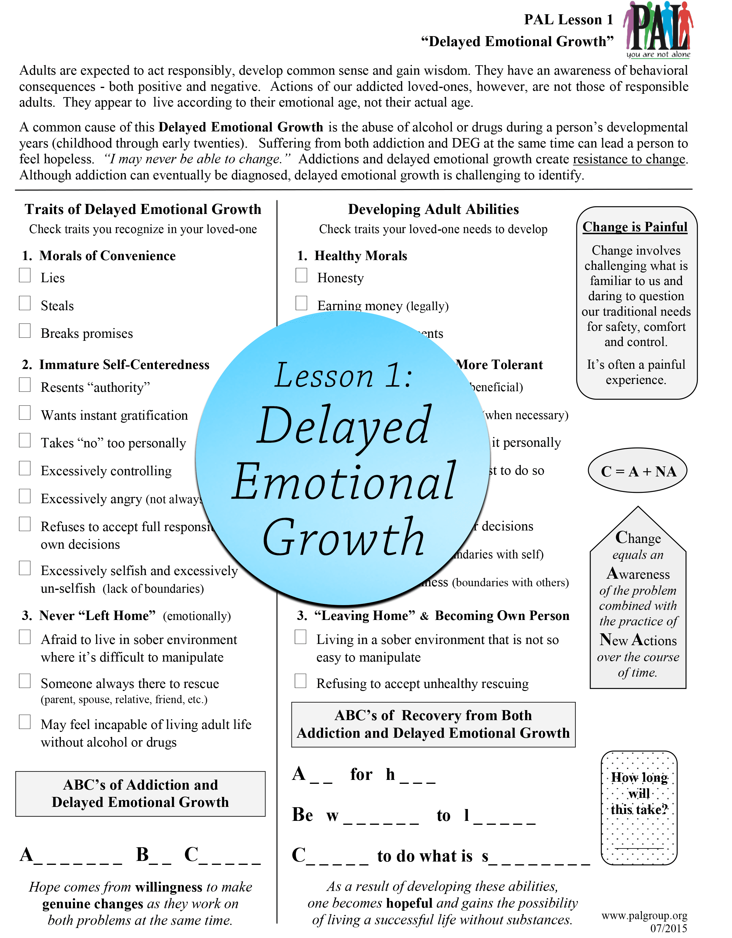 Lesson 1: Delayed Emotional Growth