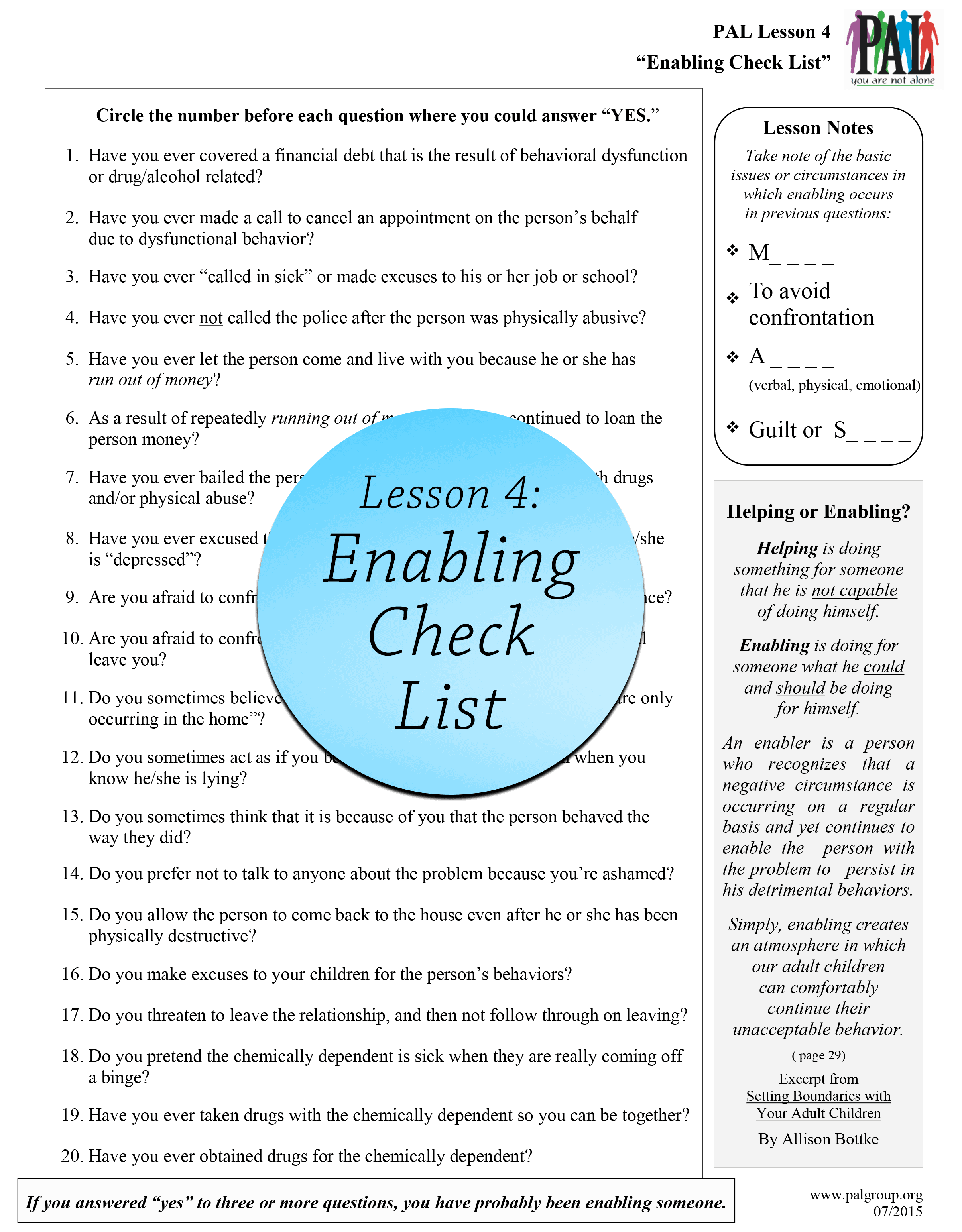 Lesson 4: Enabling Check List