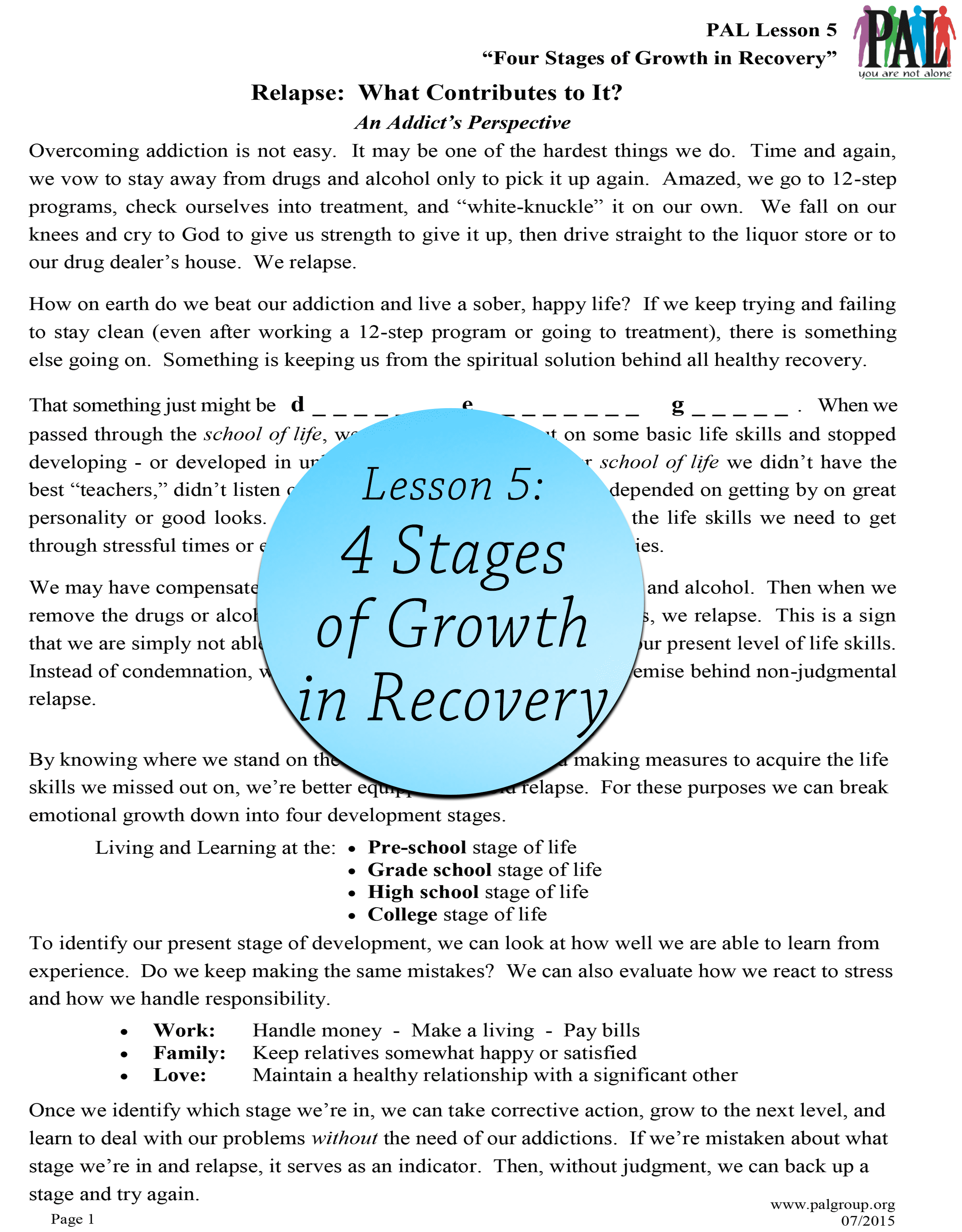 Lesson 5: 4 Stages of Growth in Recovery