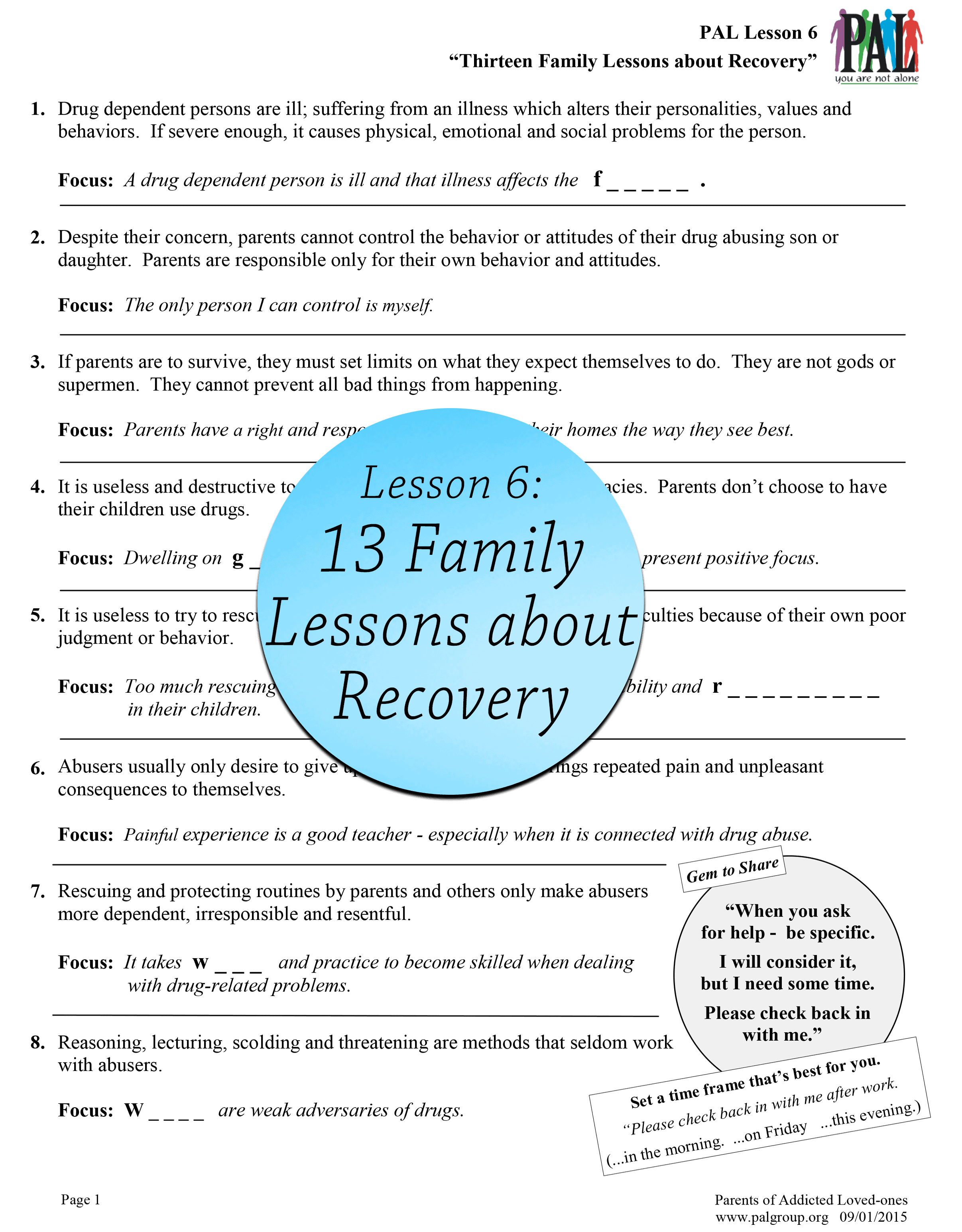 Lesson 6: 13 Family Lessons about Recovery