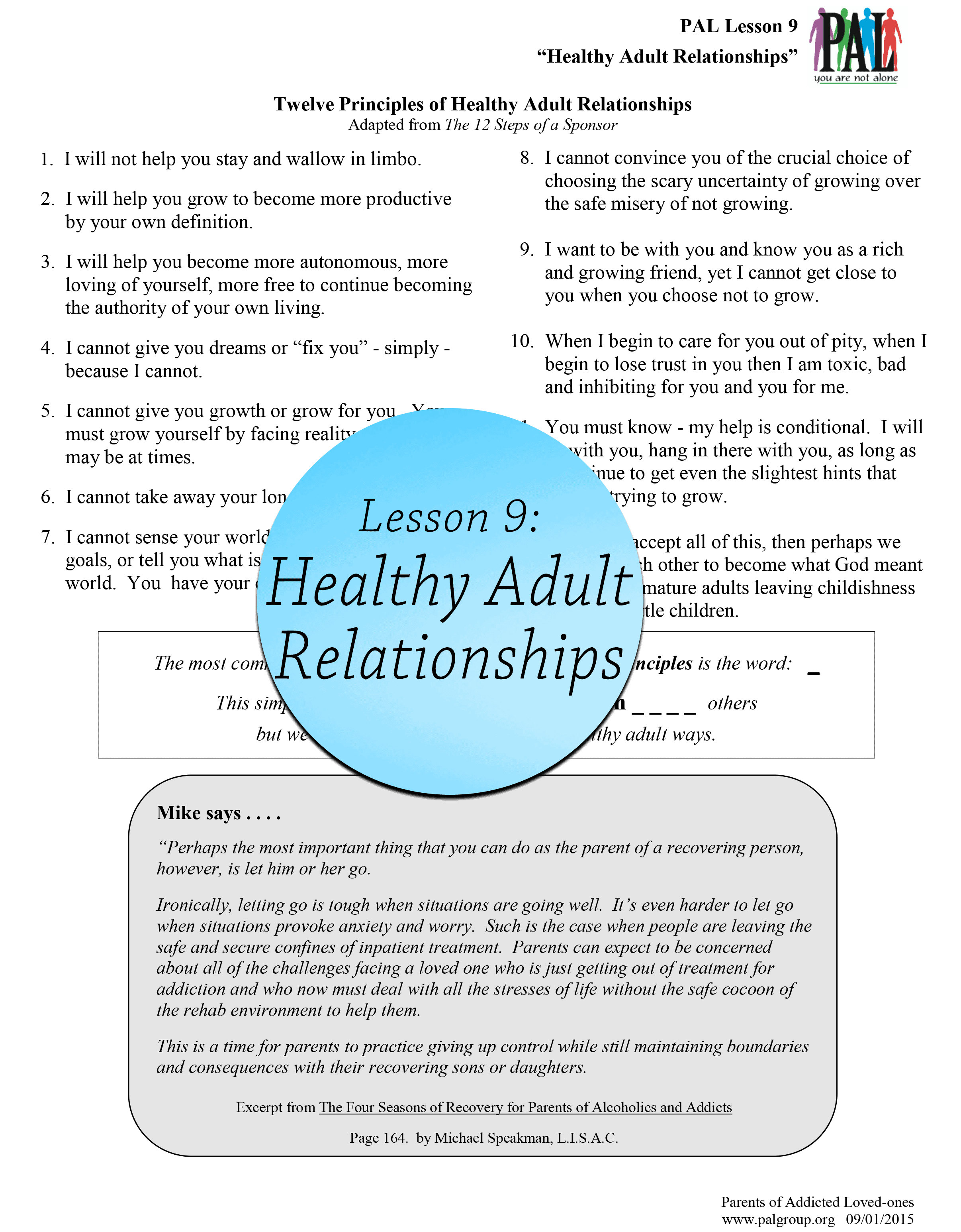 Lesson 9: Healthy Adult Relationships